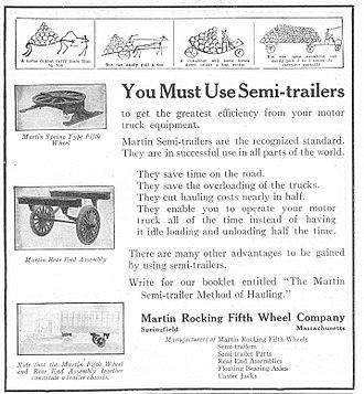 Một quảng cáo năm 1920 cho xe sơ mi rơ moóc (nguồn ảnh: Wiki)